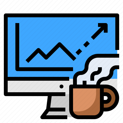 business, coffee, computer, graph, stock icon