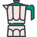 coffee, drink, espresso, hot, maker, moka, pot icon
