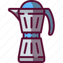 brewer, coffee, colored, pot icon