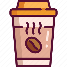 coffee, colored, cup, drink, hot, paper icon