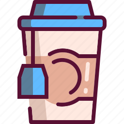 colored, cup, drink, hot, paper, tea icon