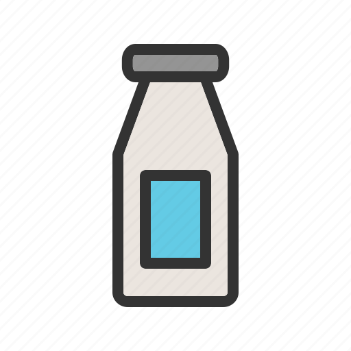 bottle, dairy, drink, food, healthy, milk, white icon