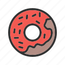 baked, cafe, cream, dessert, donut, doughnut, sweet icon