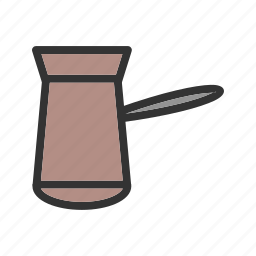 brown, cezve, coffee, drink, metal, old, pot icon