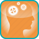 brain, cogs, gears, in, industy, the, work icon