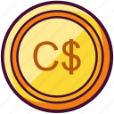 canadian, coin, currency, dollar, money icon