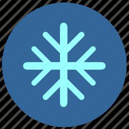 cold, flake, label, round, snow icon