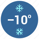 cold, label, round, snow, temperature icon