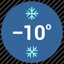 cold, label, round, snow, temperature icon