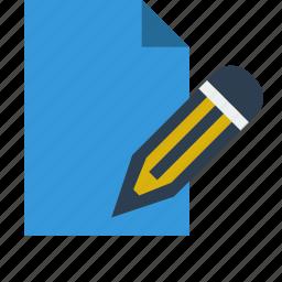 document, edit, editor, file, pen, pencil icon