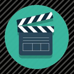 cinema, clapper, film icon