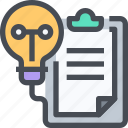 clipboard, creative, idea, light, science, test icon