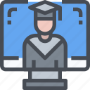 college, e-learning, education, graduation, online icon
