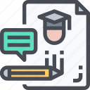 education, graduation, knowledge, learning, test icon