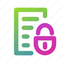 document, file, list, lock, lock list, menu icon, security icon