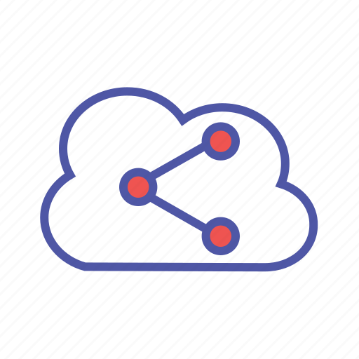cloud share, cloud storage, data storage, data transfer, saas, shared data icon