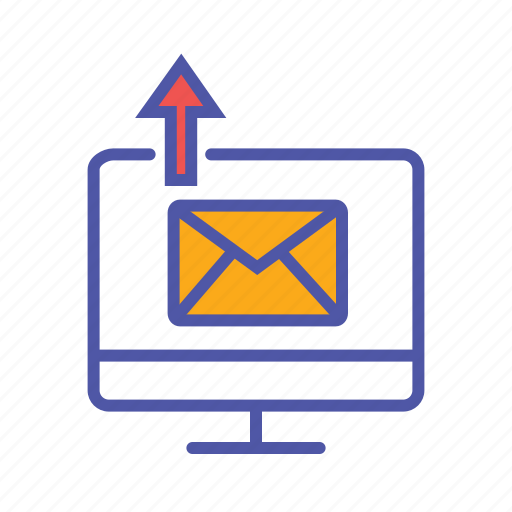 data upload, email client, internet, mail communication, send message icon