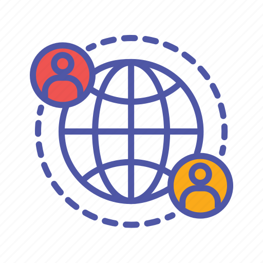 global communication, global network, intenational business, shared profile, social media, social network icon