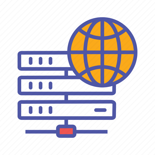 centralized database, cloud server, global database, global server, main server icon