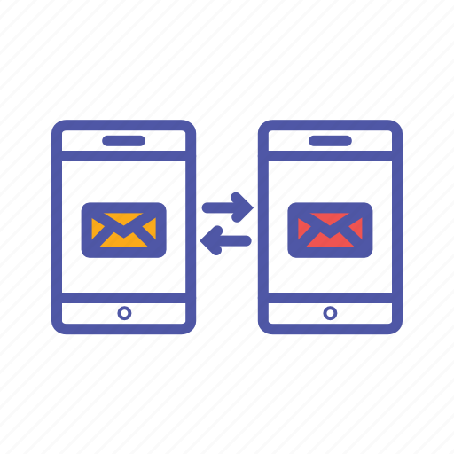 data exchange, data transfer, mail communication, mobile communication icon