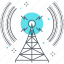 antenna, broadcast, broadcasting, communication, radio, tower, wireless icon