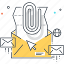 attachment, computer, email, file, in box, mail icon