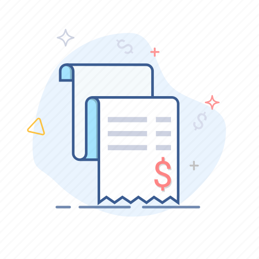 bill, invoice, money, payment, receipt, sales, shopping icon