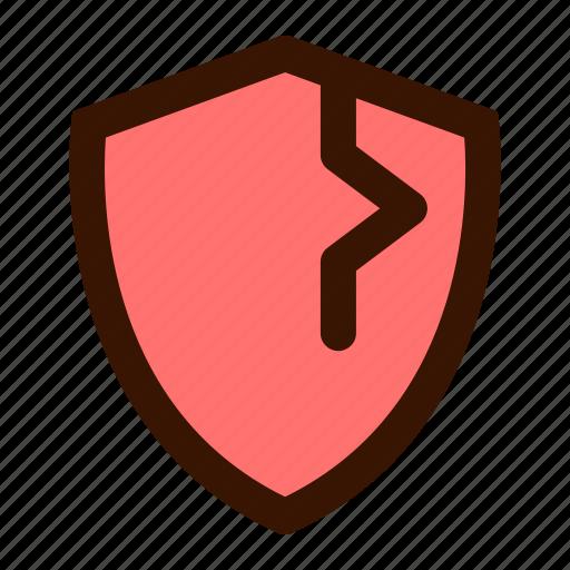 alert, infected, shield, virus, warning icon