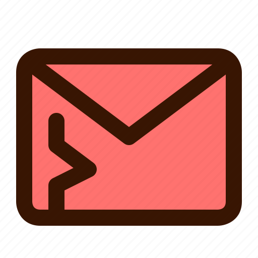 alert, infected, mail, security, spam, virus, warning icon