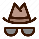 detective, hat, incognito, private, spy icon