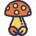 amanita, autumn, fall, mushroom, orange, yellow icon