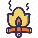 autumn, bonfire, fall, hiking, orange, turism, yellow icon