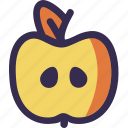 apple, autumn, fall, half, orange, sliced, yellow icon