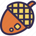 acorn, autumn, fall, nature, orange, yellow icon