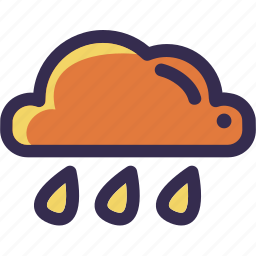 autumn, cloud, fall, orange, rain, weather, yellow icon