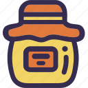 fall, holiday, jam, jar, orange, pot, yellow icon