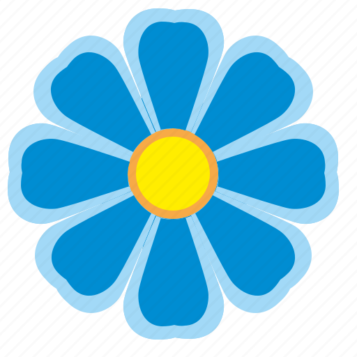 blue, bud, flower, nature icon