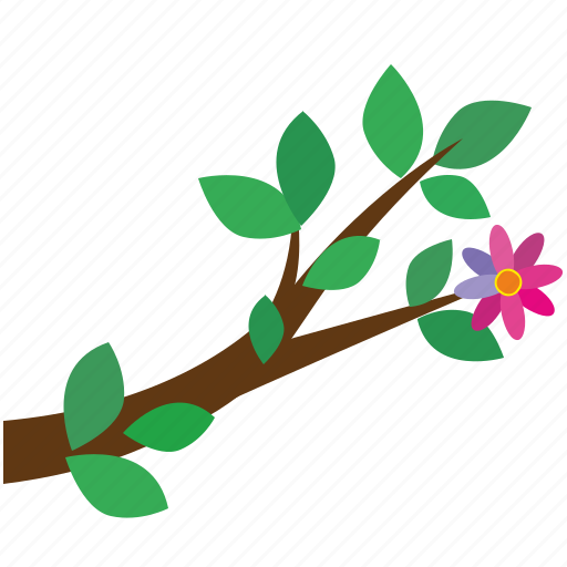 branch, flower, leaves, tree icon