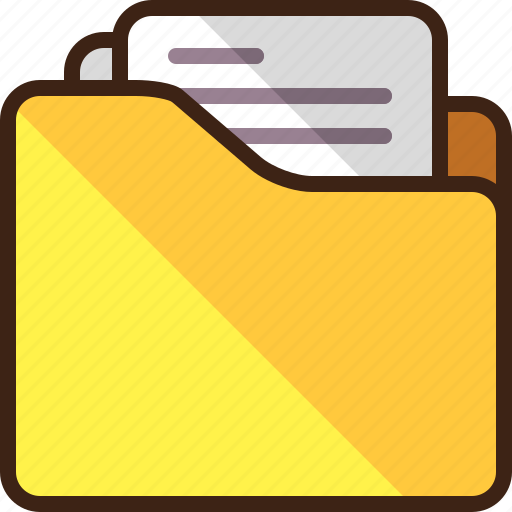 documents, files, folder, paper icon