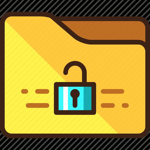 folder, open, padlock, unlocked icon
