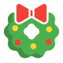 christmas, flower, leave, ring, wreath icon