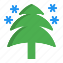 christmas, decoration, pine, snow, tree icon