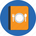 book, fork, menu, spoon icon