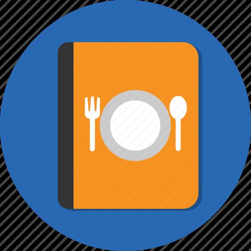 book, fork, menu, spoon icon