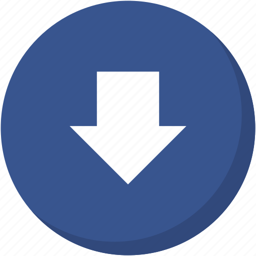arrow, circle, darkblue, direction, down, download, navigation icon
