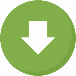 arrow, circle, direction, down, download, green, navigation icon