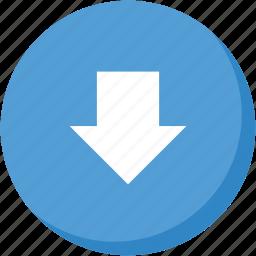 arrow, circle, direction, down, download, lightblue, navigation icon
