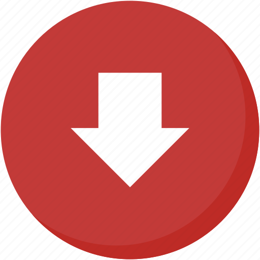 arrow, circle, direction, down, download, navigation, red icon
