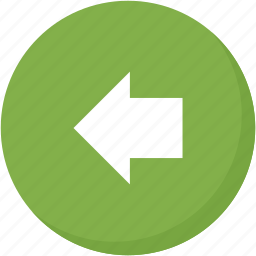 arrow, back, circle, direction, green, left, navigation icon