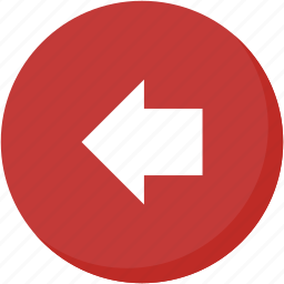 arrow, back, circle, direction, left, navigation, red icon